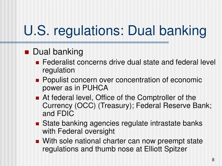 U.S. regulations: Dual banking