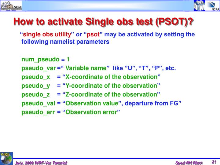 How to activate Single obs test (PSOT)?