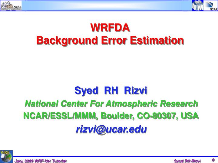 Wrfda background error estimation