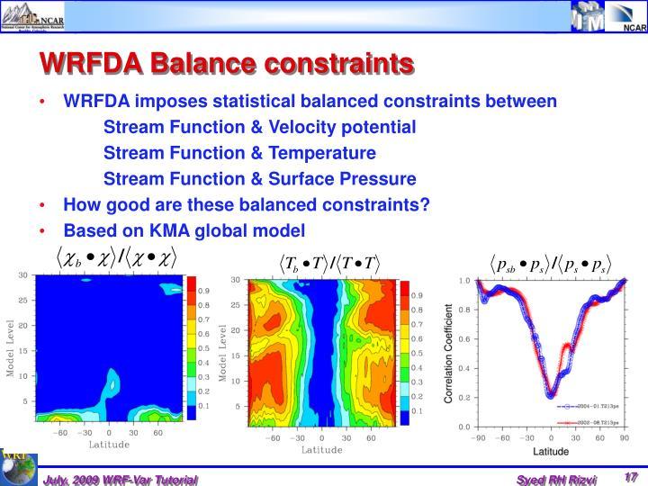 WRFDA Balance constraints