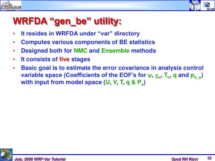 "WRFDA ""gen_be"" utility:"