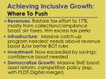 achieving inclusive growth where to push