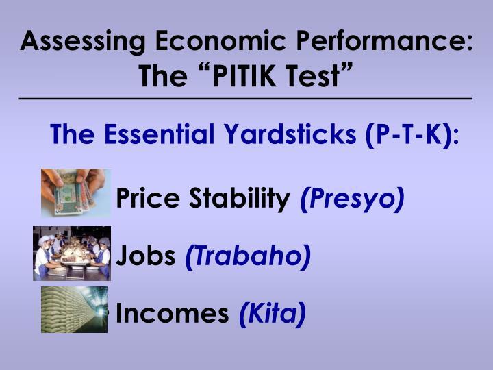 Assessing Economic Performance: