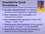 checklist for good governance