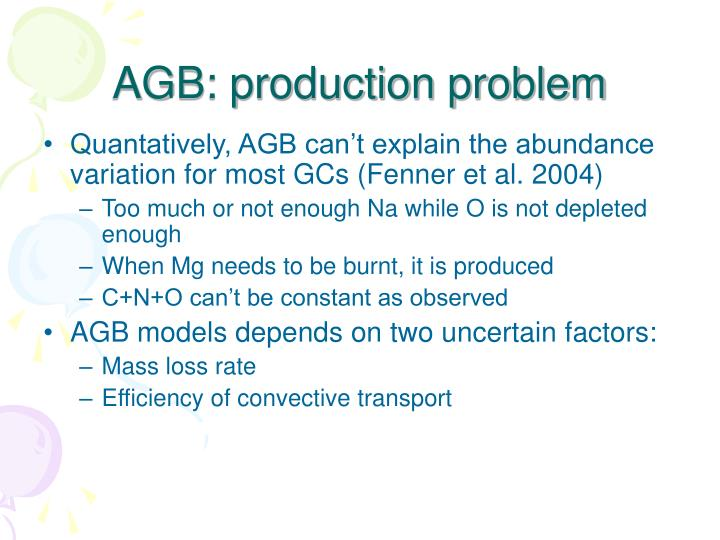AGB: production problem