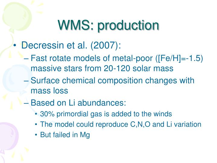 WMS: production