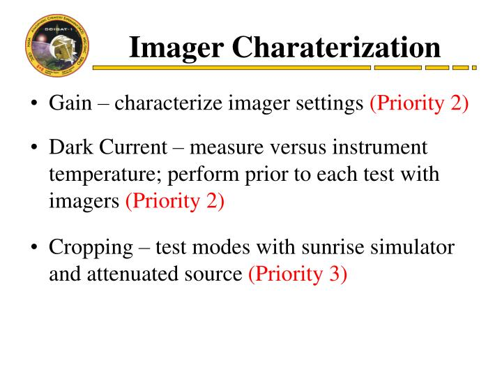 Imager Charaterization