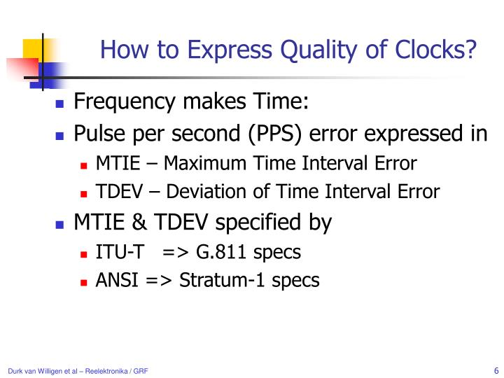 How to Express Quality of Clocks?