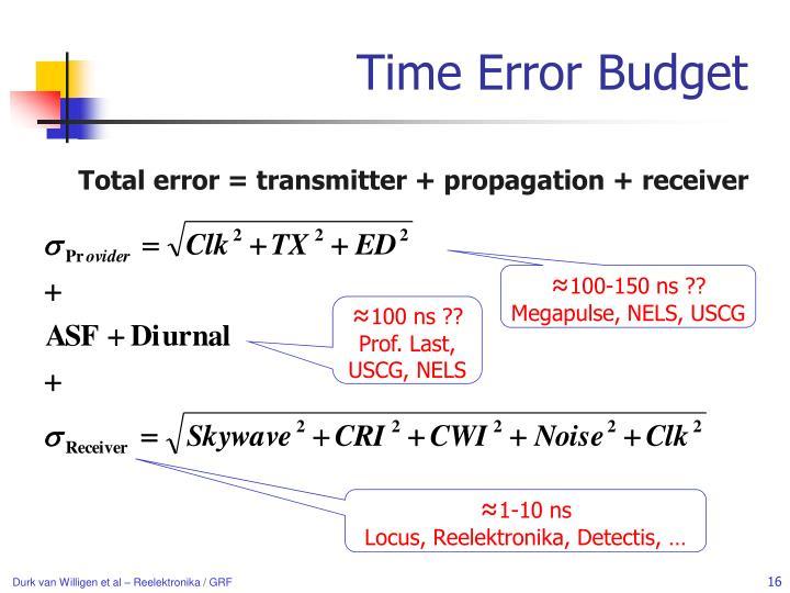 Time Error Budget