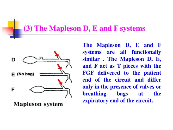 (3) The Mapleson D, E and F systems