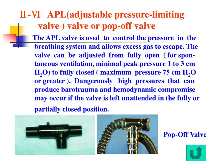 Ⅱ-Ⅵ   APL(adjustable pressure-limiting valve ) valve or pop-off valve