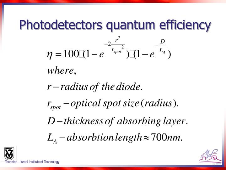 Photodetectors quantum efficiency