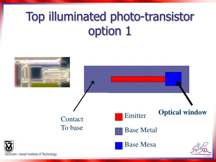Top illuminated photo-transistor