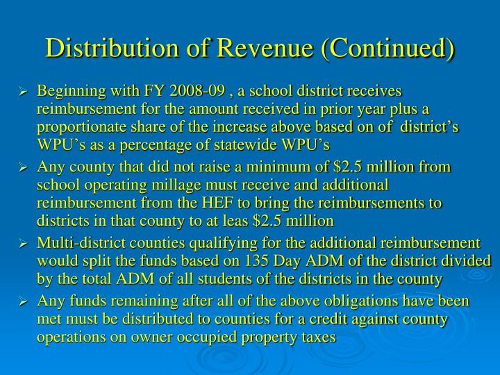 Distribution of Revenue (Continued)