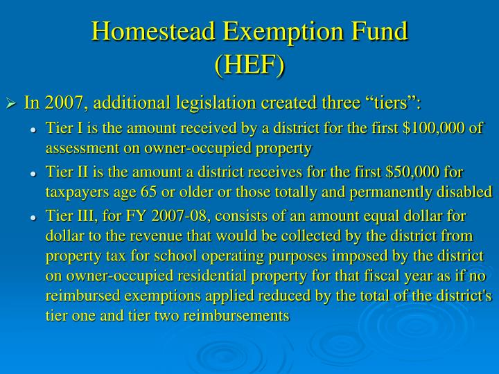 Homestead Exemption Fund