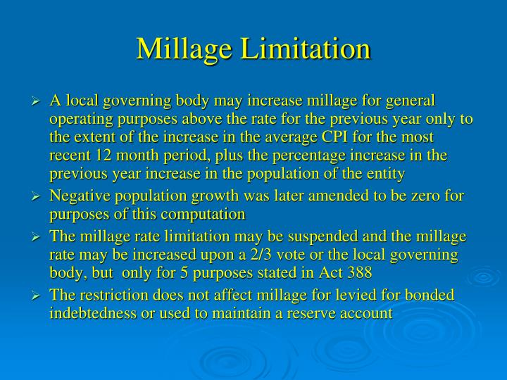 Millage Limitation