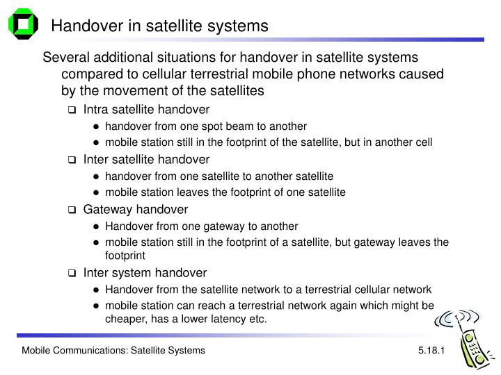 Handover in satellite systems