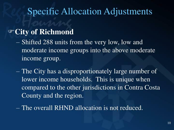 Specific Allocation Adjustments