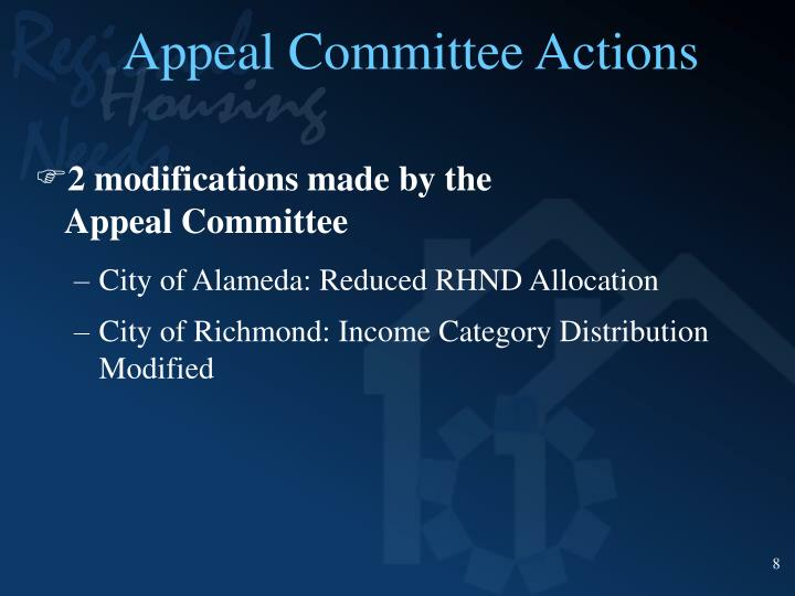 Appeal Committee Actions