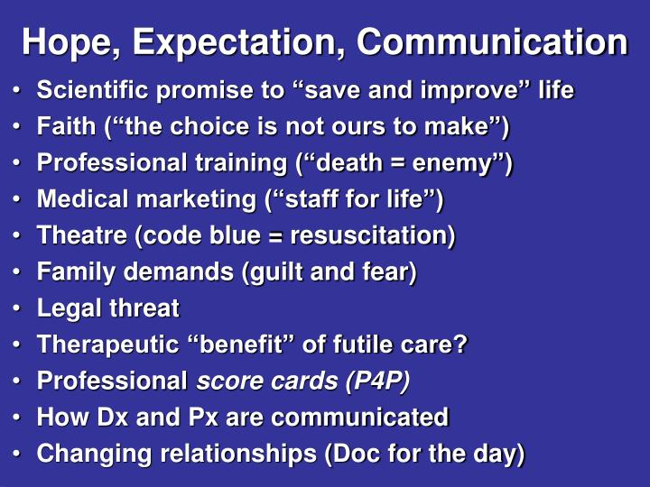 Hope, Expectation, Communication