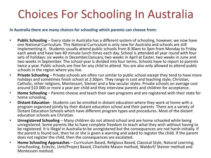 Choices For Schooling In Australia