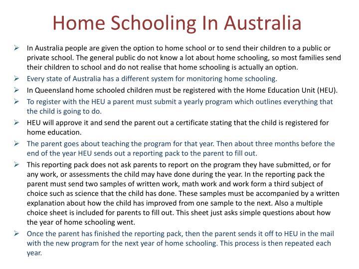Home Schooling In Australia