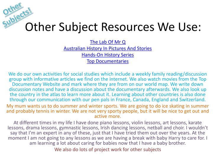 Other Subjects!