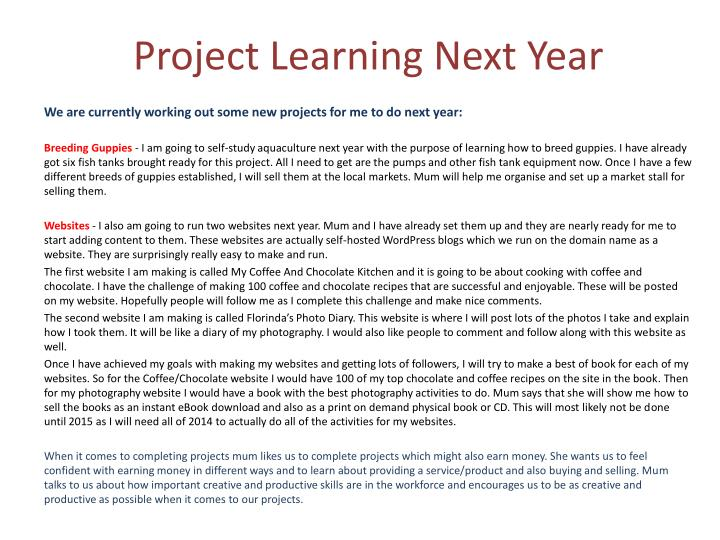 Project Learning Next Year