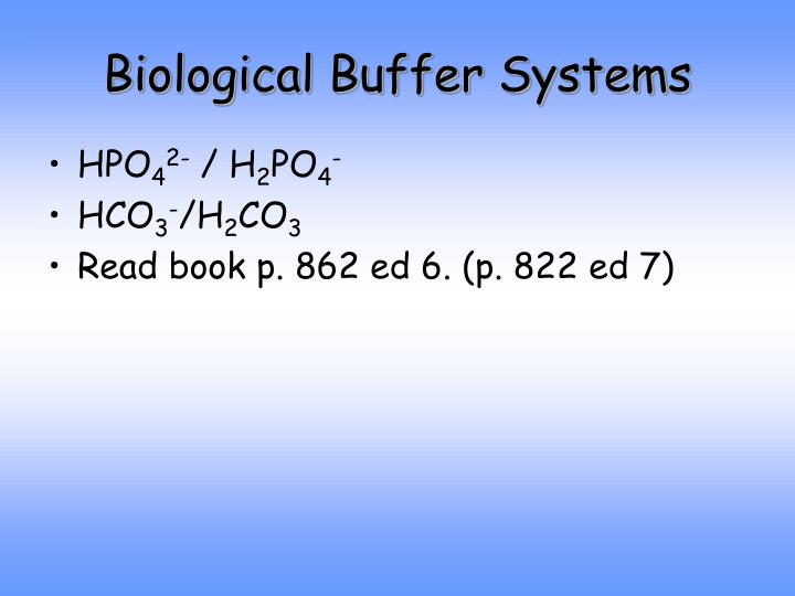 Biological Buffer Systems