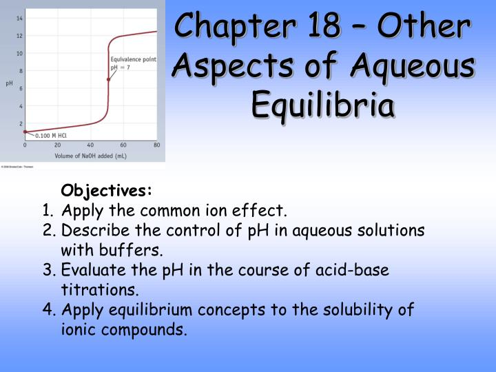 Chapter 18 other aspects of aqueous equilibria