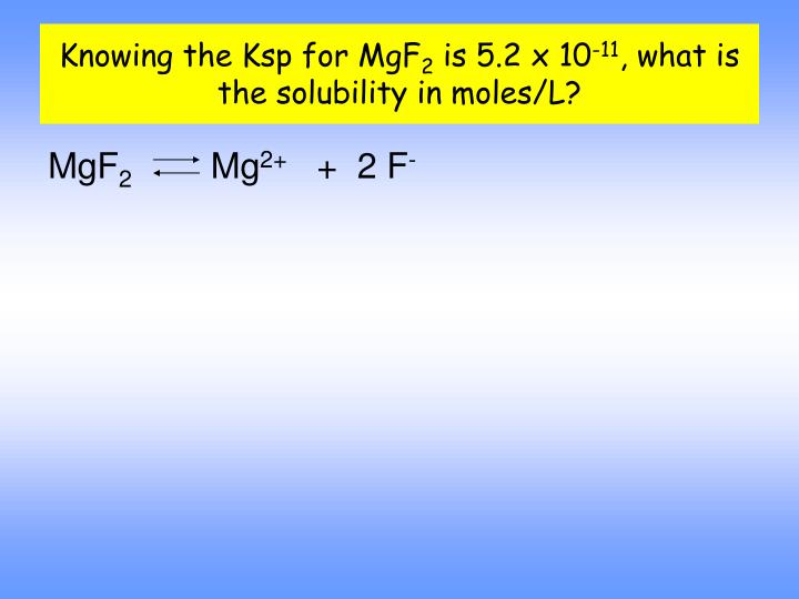 Knowing the Ksp for MgF