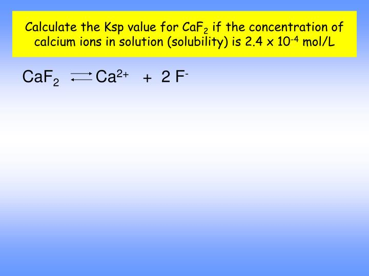 Calculate the Ksp value for CaF