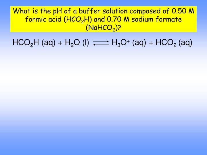 What is the pH of a buffer solution composed of 0.50 M formic acid (HCO