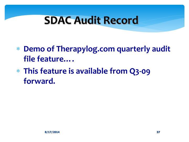 SDAC Audit Record