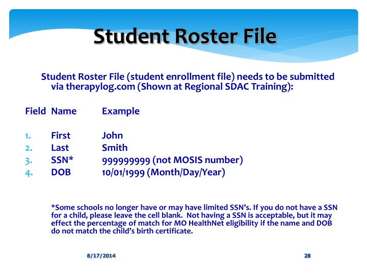 Student Roster File