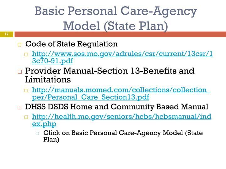 Basic Personal Care-Agency Model (State Plan)