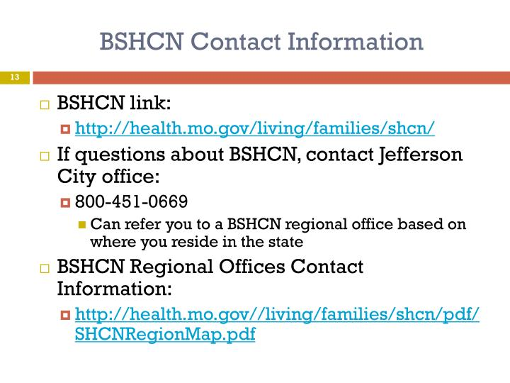 BSHCN Contact Information