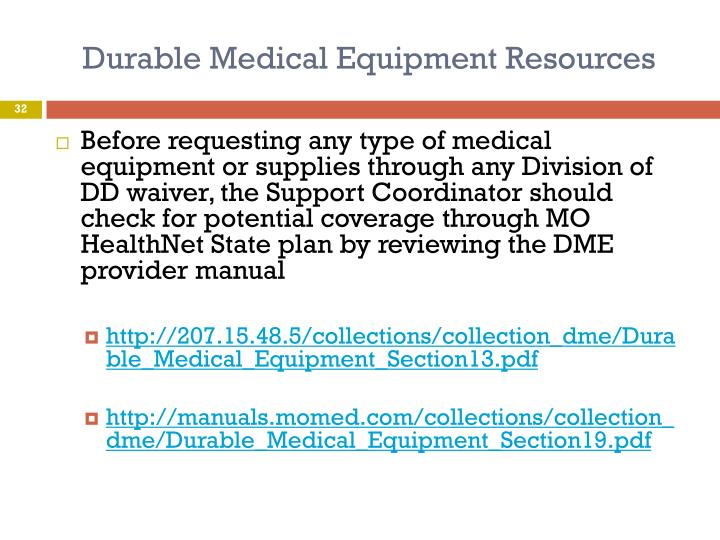 Durable Medical Equipment Resources