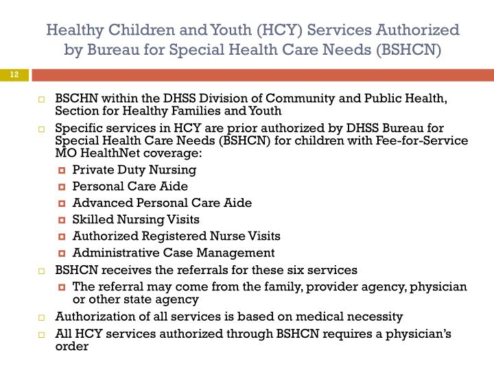 Healthy Children and Youth (HCY) Services Authorized by Bureau for Special Health Care Needs (BSHCN)
