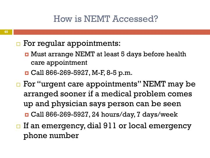 How is NEMT Accessed?
