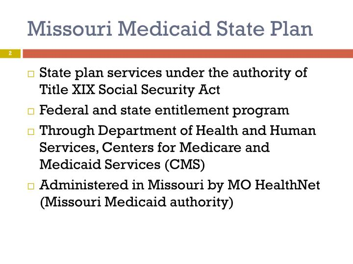Missouri medicaid state plan