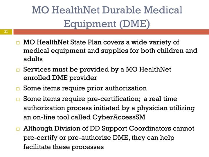 MO HealthNet Durable Medical Equipment (DME
