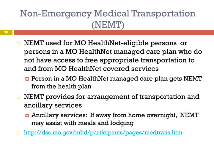 Non-Emergency Medical Transportation (NEMT)