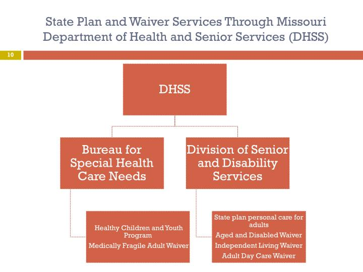 State Plan and Waiver Services Through Missouri Department of Health and Senior Services (DHSS)