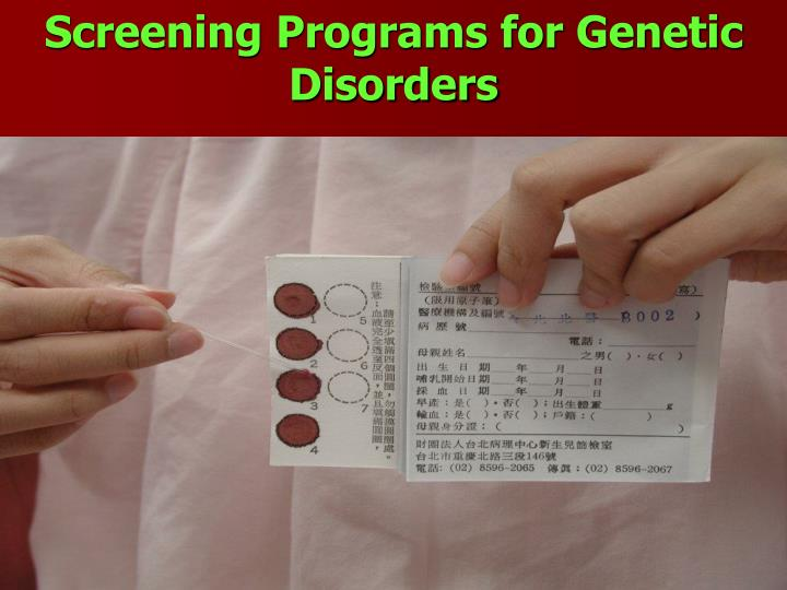 Screening Programs for Genetic Disorders