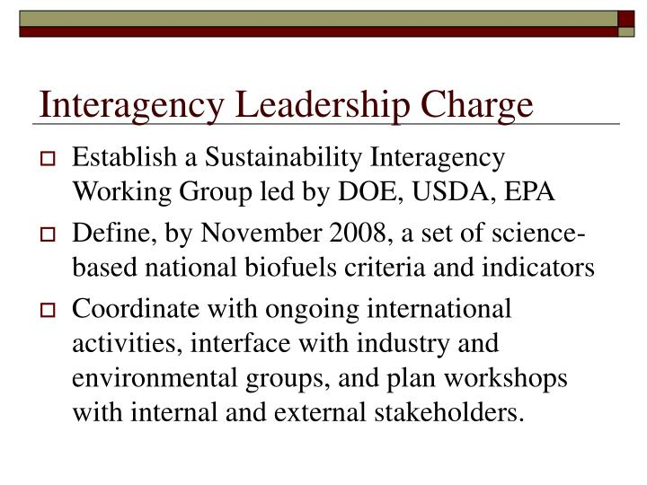 Interagency Leadership Charge