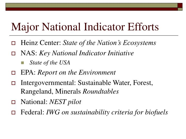 Major National Indicator Efforts