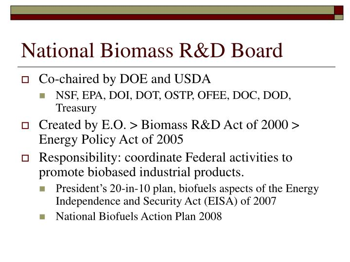 National Biomass R&D Board