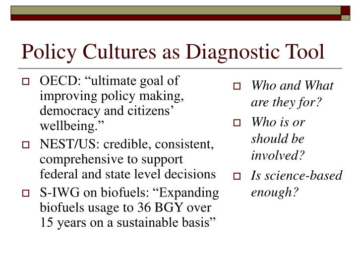 Policy Cultures as Diagnostic Tool