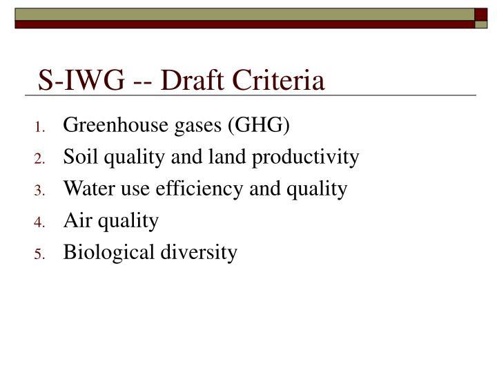 S-IWG -- Draft Criteria